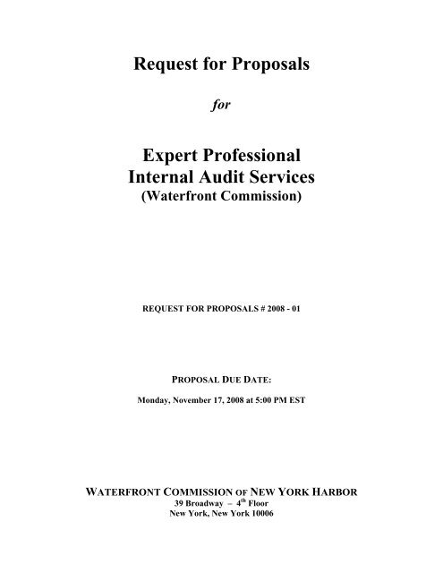 Request for Proposals Expert Professional Internal Audit Services