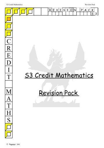 S3 Credit Mathematics Revision Pack - All Saints Secondary School