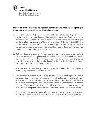 Publicació de les propostes de resolució definitives amb ... - Infojove