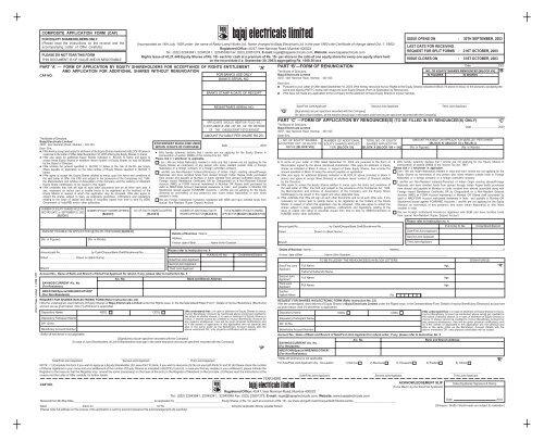 Letter of Offer / Composite Application Form - Bajaj