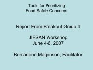 Report From Breakout Group 4 JIFSAN Workshop June 4-6, 2007 ...