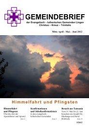 lutherischen Gemeinden Lingen Christus – Kreuz – Trinitatis Mitte ...