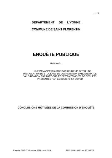 COVED Conclusions CE - 0,09 Mb - Préfecture de l'Yonne