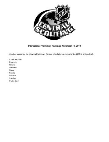 International - NHL Central Scouting