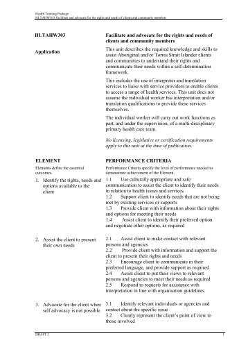 HLTAHW303 Facilitate and advocate for the rights and needs of ...