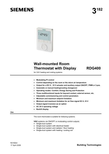 3182 Wall-mounted Room Thermostat with Display RDG400