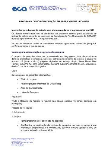PROGRAMA DE PÓS-GRADUAÇÃO EM ARTES VISUAIS - ECA-USP