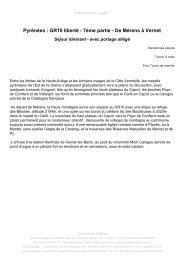 Pyrénées : GR10 liberté - 7ème partie - De Mérens à ... - Tour aventure