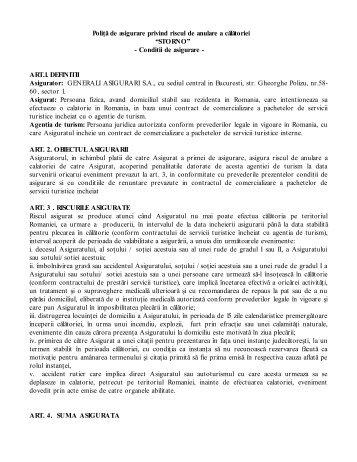 CONTRACT DE ASIGURARE NR ……PENTRU ... - Perfect Tour