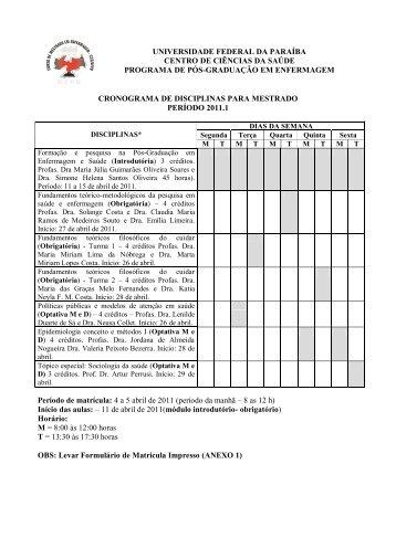 cronograma de disciplinas para mestrado periodo 2011.1 - CCS ...