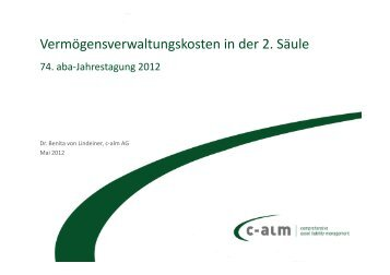 Vermögensverwaltungskosten in der 2. Säule - c-alm