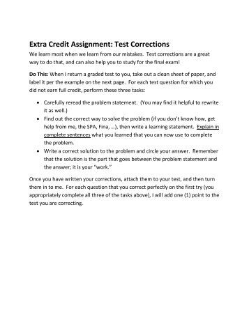 Extra credit assignment