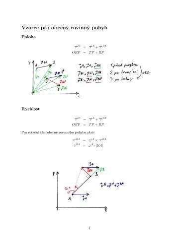 Vzorce pro obecný rovinný pohyb