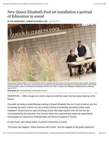 New Queen Elizabeth Pool art installation a portrait of Edmonton in ...