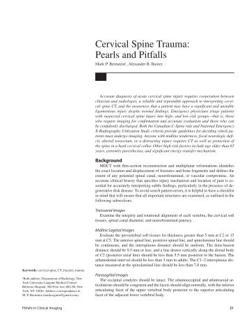 Cervical Spine Trauma: Pearls and Pitfalls