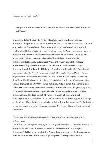 Laudatio Hr. Prof. Dr. Wandtke zur Verleihung des - VG Wort