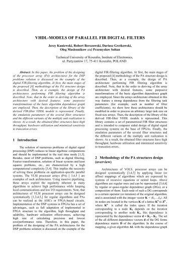 Implementation of IIR Digital Filters in FPGA - kik - Koszalin