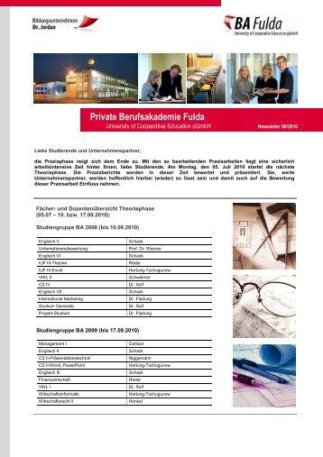 BA Newsletter 062010 - Private Berufsakademie Fulda