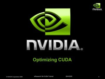 Optimising CUDA - eResearch SA