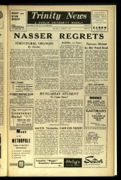 NASSER REGRETS - Trinity News Archive