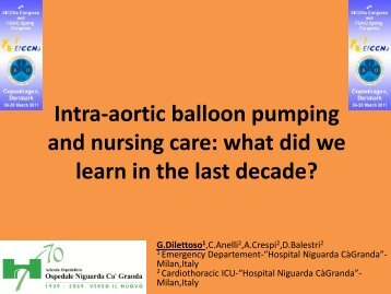 Intra-aortic balloon pumping and nursing care - European ...