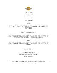 Accuracy and Use of Consumer Credit Reports - MFY Legal Services