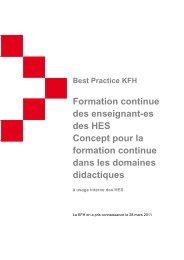 Formation continue des enseignant-es des HES Concept pour ... - KFH