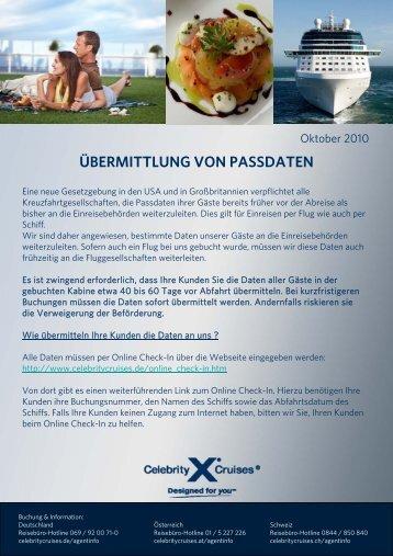 ÜBERMITTLUNG VON PASSDATEN - Celebrity Cruises