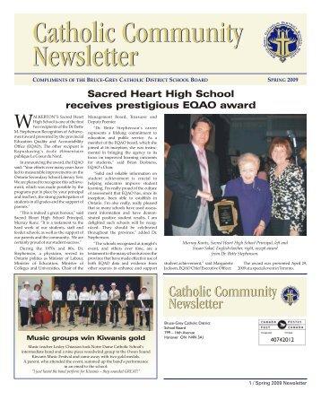 Bruce Grey News Spring 09 - Bruce Grey Catholic District School ...