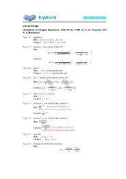 Errata - The World of Mathematical Equations