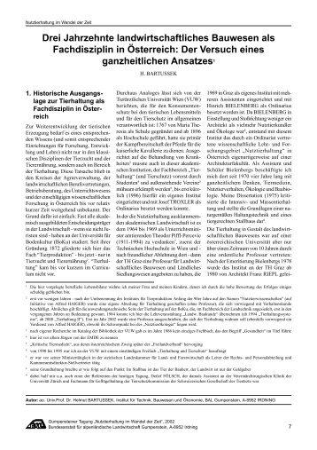 Drei Jahrzehnte landwirtschaftliches Bauwesen ... - Helmut Bartussek