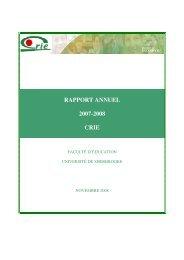 Rapport annuel 2007-2008 - Centre de recherche sur l'intervention ...