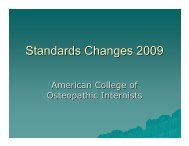 Standards Changes 2009 - American College of Osteopathic Internists