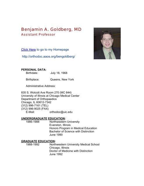 Benjamin A  Goldberg, MD - University of Illinois College of