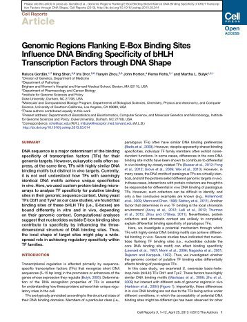 Genomic Regions Flanking E-Box Binding Sites Influence DNA ...