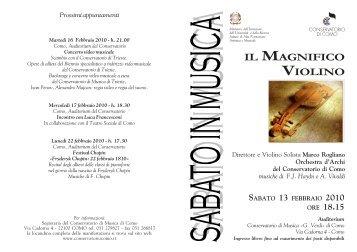 sabato 13 febbraio IL MAGNIFICO VIOLINO Archi del Conservatorio ...