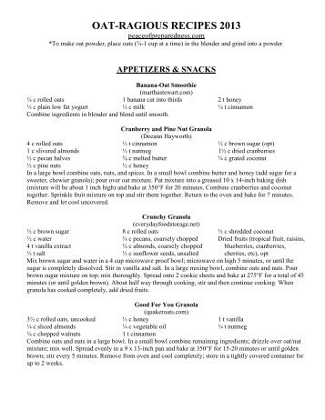 Oat-rageos Recipes 2013.pdf - Peace of Preparedness