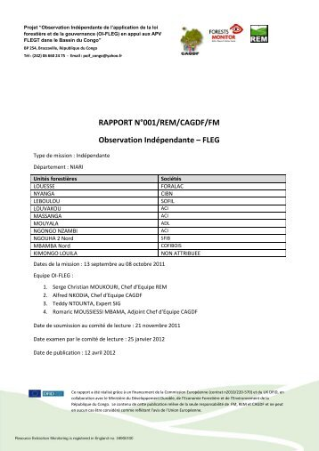 rapport n°001/rem/cagdf/fm - Forests Monitor