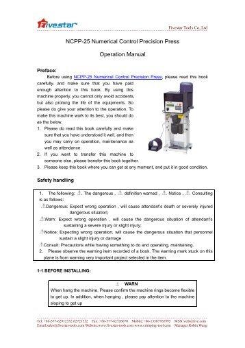 NCPP-25 Numerical Control Precision Press Operation Manual