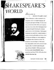 Shakespeares World Hand-out - Hinsdale South High School