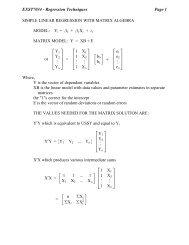 SIMPLE LINEAR REGRESSION WITH MATRIX ALGEBRA