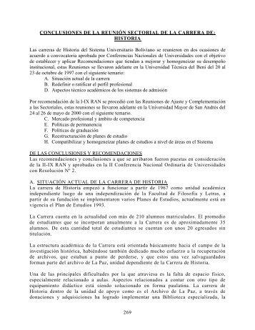 HISTORIA Las carreras de Historia del Sistema Universitario Bolivian