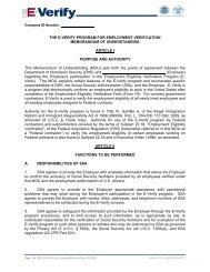E-Verify Memorandum of Understanding E-Verify MOU