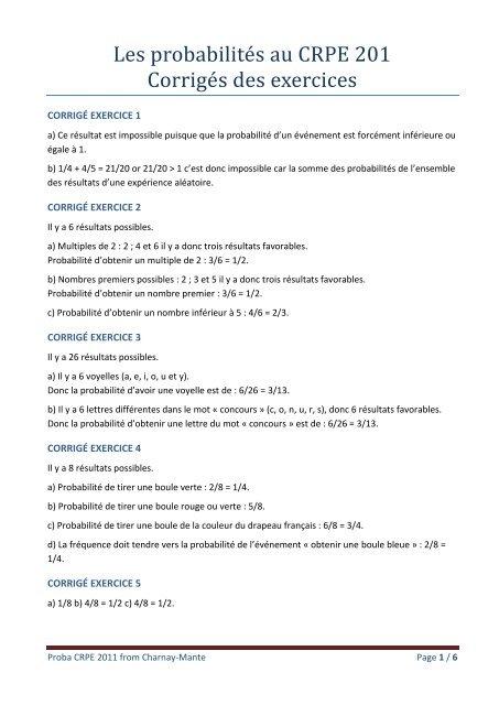 Les Probabilite S Au Crpe 201 Corrige S Des Exercices