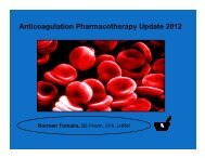 Anticoagulation Pharmacotherapy Update 2012 - Health First
