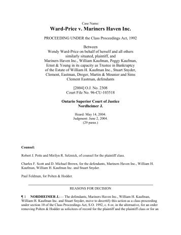 Ward-Price v. Mariners Haven Inc.
