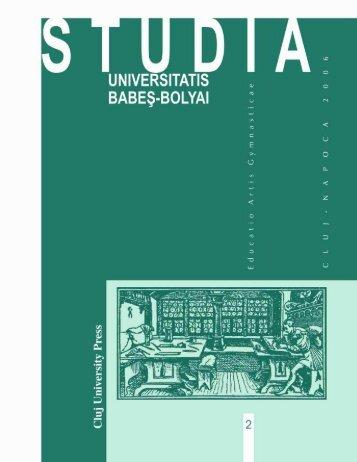 studia universitatis babeş–bolyai educatio artis gymnasticae 2