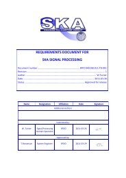 REQUIREMENTS DOCUMENT FOR SKA SIGNAL PROCESSING