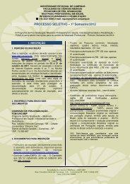 PROCESSO SELETIVO – 1º Semestre/2012 - Fcm - Unicamp