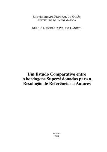 Um Estudo Comparativo entre Abordagens Supervisionadas para a ...
